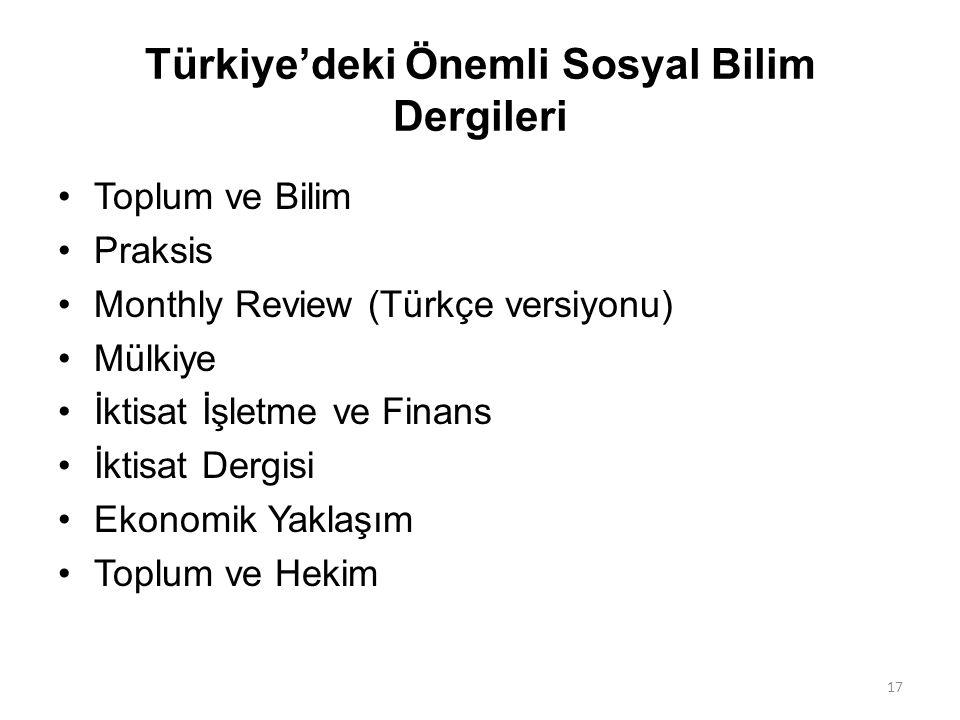 Türkiye'deki Önemli Sosyal Bilim Dergileri Toplum ve Bilim Praksis Monthly Review (Türkçe versiyonu) Mülkiye İktisat İşletme ve Finans İktisat Dergisi
