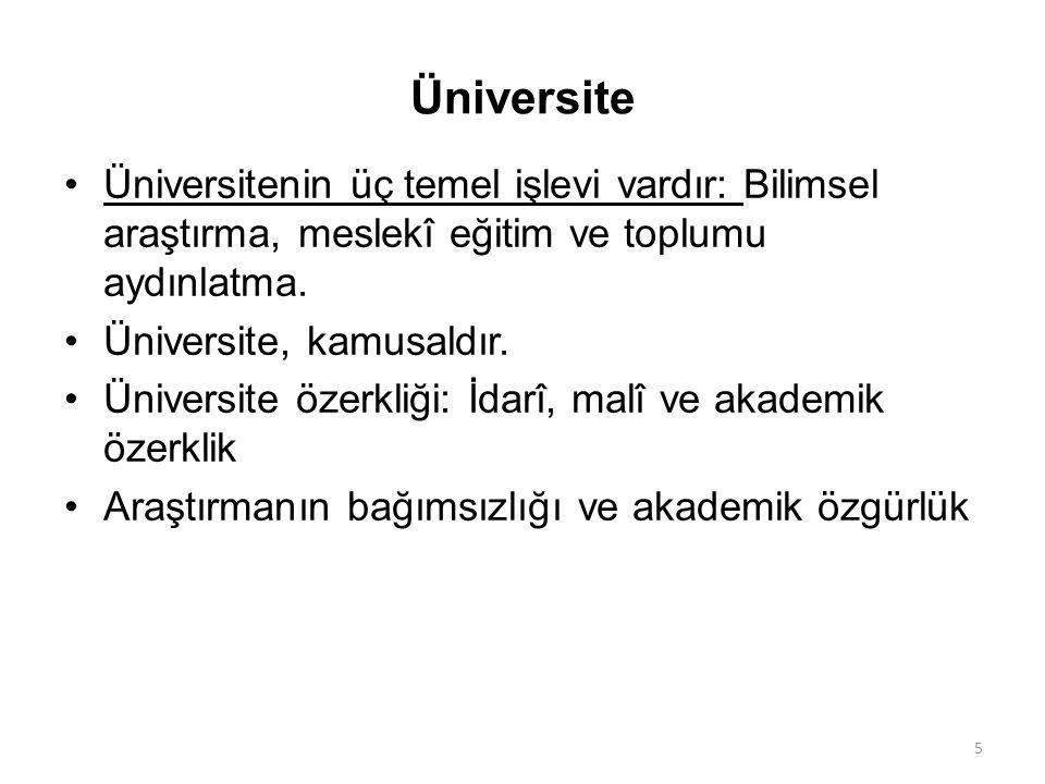 Üniversite Üniversitenin üç temel işlevi vardır: Bilimsel araştırma, meslekî eğitim ve toplumu aydınlatma. Üniversite, kamusaldır. Üniversite özerkliğ