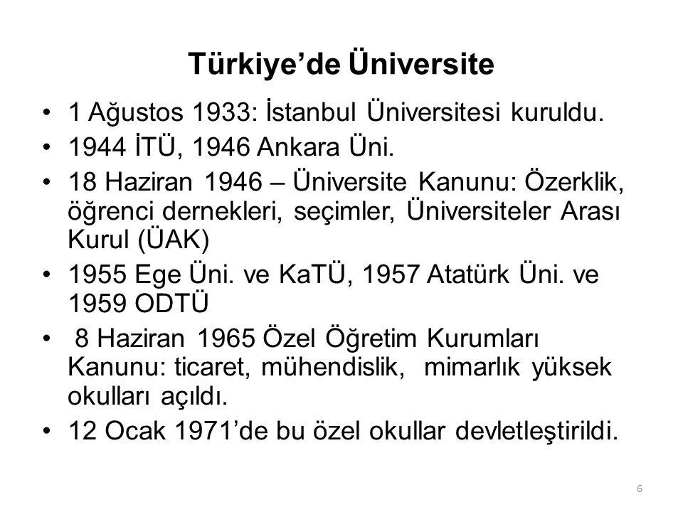 Türkiye'de Üniversite 1 Ağustos 1933: İstanbul Üniversitesi kuruldu. 1944 İTÜ, 1946 Ankara Üni. 18 Haziran 1946 – Üniversite Kanunu: Özerklik, öğrenci