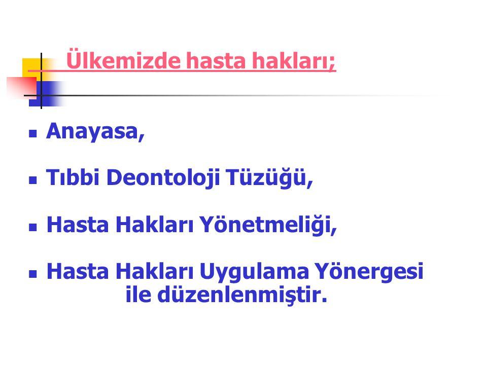 TEMEL HASTA HAKLARI .