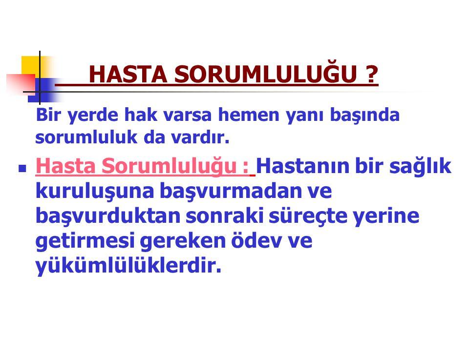 HASTA SORUMLULUKLARI 1.Genel Sorumluluklar 2. Sosyal Güvenlik Durumu 3.