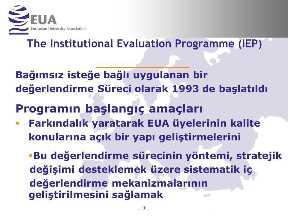 …10… The Institutional Evaluation Programme (IEP) Bağımsız isteğe bağlı uygulanan bir değerlendirme Süreci olarak 1993 de başlatıldı Programın başlangıç amaçları  Farkındalık yaratarak EUA üyelerinin kalite konularına açık bir yapı geliştirmelerini  Bu değerlendirme sürecinin yöntemi, stratejik değişimi desteklemek üzere sistematik iç değerlendirme mekanizmalarının geliştirilmesini sağlamak