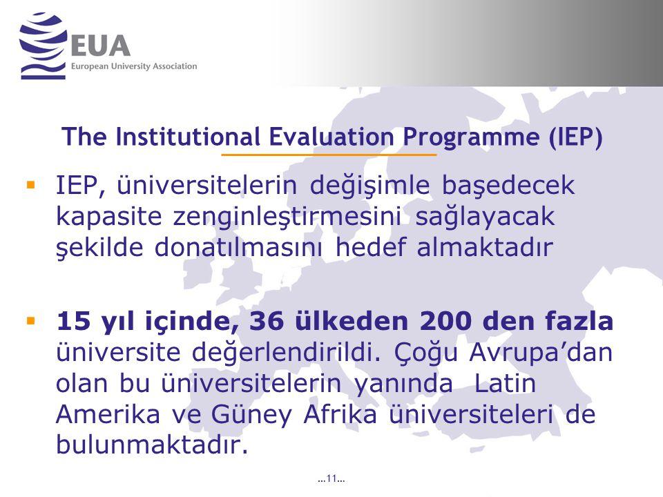 …11… The Institutional Evaluation Programme (IEP)  IEP, üniversitelerin değişimle başedecek kapasite zenginleştirmesini sağlayacak şekilde donatılmasını hedef almaktadır  15 yıl içinde, 36 ülkeden 200 den fazla üniversite değerlendirildi.