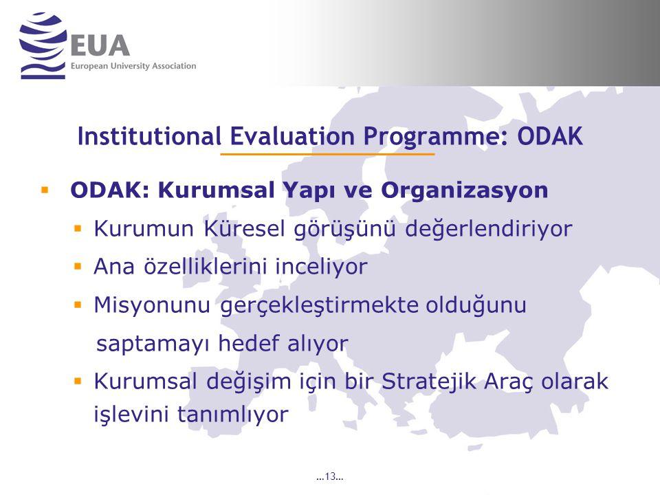 …13… Institutional Evaluation Programme: ODAK  ODAK: Kurumsal Yapı ve Organizasyon  Kurumun Küresel görüşünü değerlendiriyor  Ana özelliklerini inceliyor  Misyonunu gerçekleştirmekte olduğunu saptamayı hedef alıyor  Kurumsal değişim için bir Stratejik Araç olarak işlevini tanımlıyor