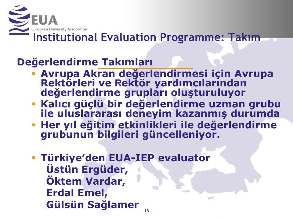 …16… Institutional Evaluation Programme: Takım Değerlendirme Takımları  Avrupa Akran değerlendirmesi için Avrupa Rektörleri ve R ektör yardımcılarından değerlendirme grupları oluşturuluyor  Kalıcı güçlü bir değerlendirme uzman grubu ile uluslararası deneyim kazanmış durumda  Her yıl eğitim etkinlikleri ile değerlendirme grubunun bilgileri güncelleniyor.