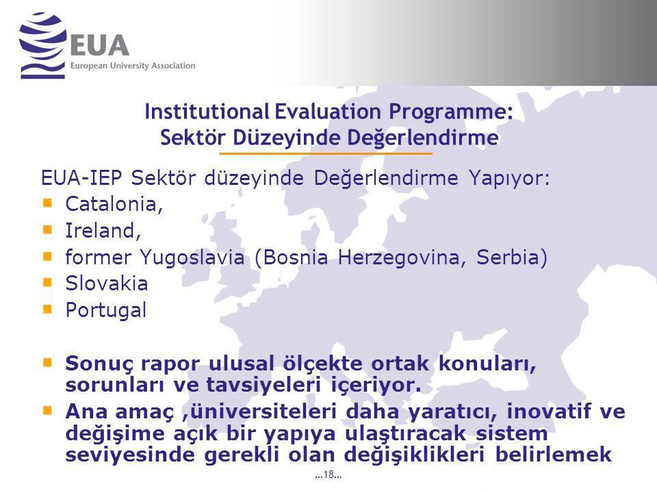 …18… Institutional Evaluation Programme: Sektör Düzeyinde Değerlendirme EUA-IEP Sektör düzeyinde Değerlendirme Yapıyor: Catalonia, Ireland, former Yugoslavia (Bosnia Herzegovina, Serbia) Slovakia Portugal Sonuç rapor ulusal ölçekte ortak konuları, sorunları ve tavsiyeleri içeriyor.