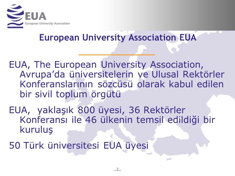 …2… European University Association EUA EUA, The European University Association, Avrupa'da üniversitelerin ve Ulusal Rektörler Konferanslarının sözcüsü olarak kabul edilen bir sivil toplum örgütü EUA, yaklaşık 800 üyesi, 36 Rektörler Konferansı ile 46 ülkenin temsil edildiği bir kuruluş 50 Türk üniversitesi EUA üyesi