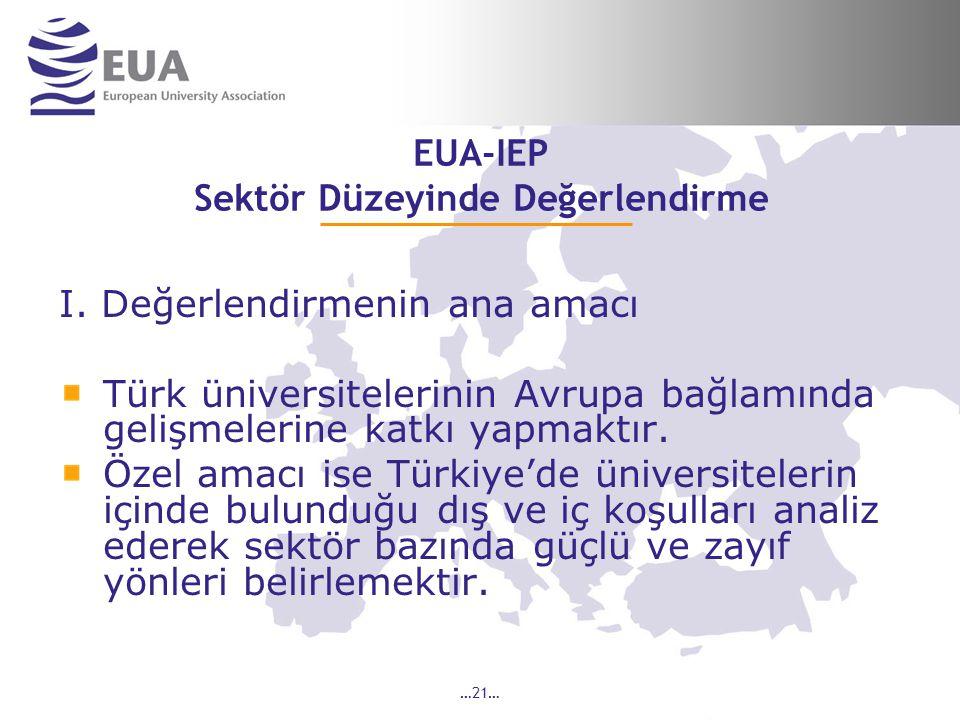 …21… EUA-IEP Sektör Düzeyinde Değerlendirme I.