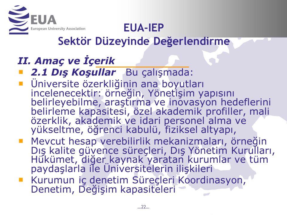 …22… EUA-IEP Sektör Düzeyinde Değerlendirme II.