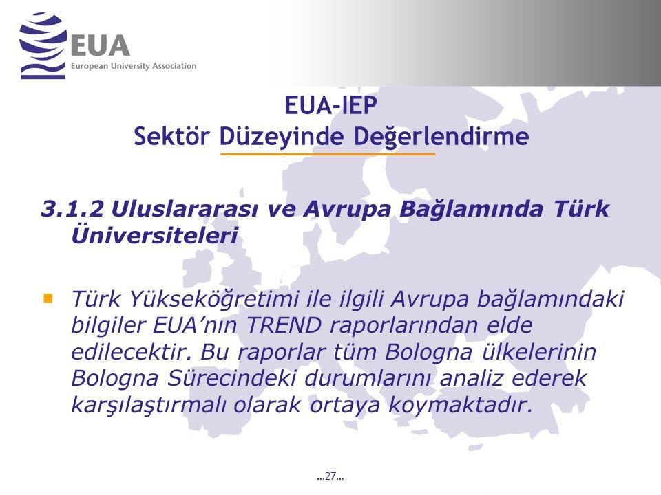 …27… EUA-IEP Sektör Düzeyinde Değerlendirme 3.1.2 Uluslararası ve Avrupa Bağlamında Türk Üniversiteleri Türk Yükseköğretimi ile ilgili Avrupa bağlamındaki bilgiler EUA'nın TREND raporlarından elde edilecektir.
