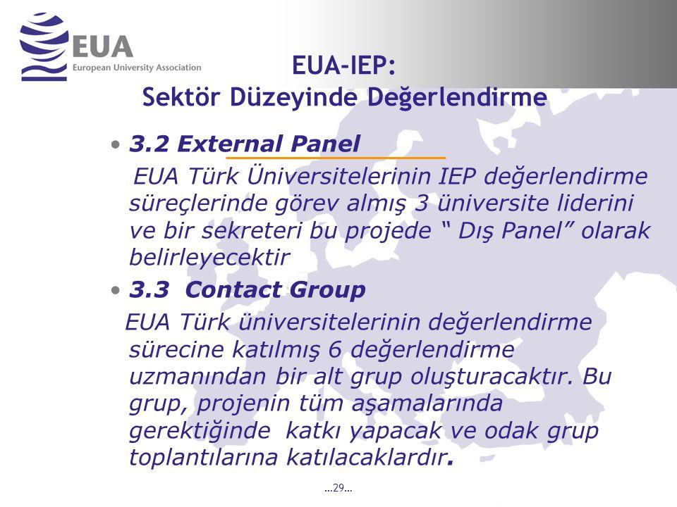 …29… EUA-IEP: Sektör Düzeyinde Değerlendirme 3.2 External Panel EUA Türk Üniversitelerinin IEP değerlendirme süreçlerinde görev almış 3 üniversite liderini ve bir sekreteri bu projede Dış Panel olarak belirleyecektir 3.3 Contact Group EUA Türk üniversitelerinin değerlendirme sürecine katılmış 6 değerlendirme uzmanından bir alt grup oluşturacaktır.