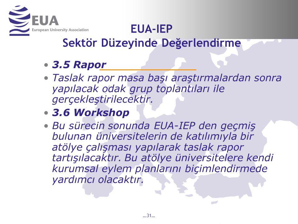 …31… EUA-IEP Sektör Düzeyinde Değerlendirme 3.5 Rapor Taslak rapor masa başı araştırmalardan sonra yapılacak odak grup toplantıları ile gerçekleştirilecektir.