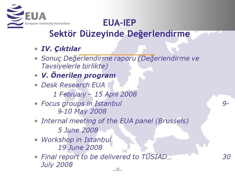 …32… EUA-IEP Sektör Düzeyinde Değerlendirme IV.