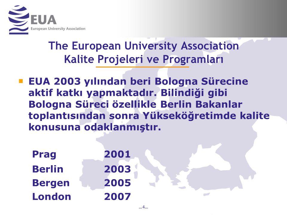 …4… The European University Association Kalite Projeleri ve Programları EUA 2003 yılından beri Bologna Sürecine aktif katkı yapmaktadır.