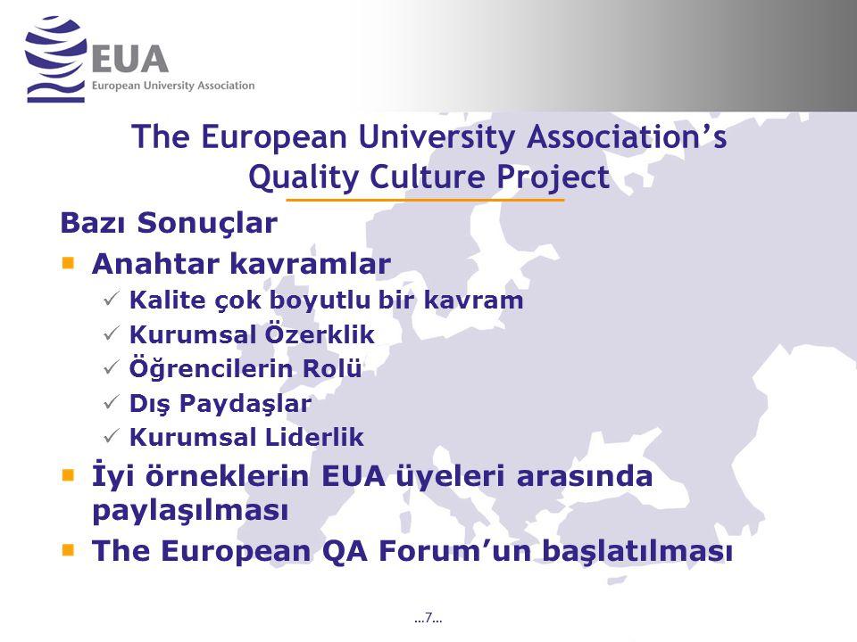 …7… The European University Association's Quality Culture Project Bazı Sonuçlar Anahtar kavramlar Kalite çok boyutlu bir kavram Kurumsal Özerklik Öğrencilerin Rolü Dış Paydaşlar Kurumsal Liderlik İyi örneklerin EUA üyeleri arasında paylaşılması The European QA Forum'un başlatılması
