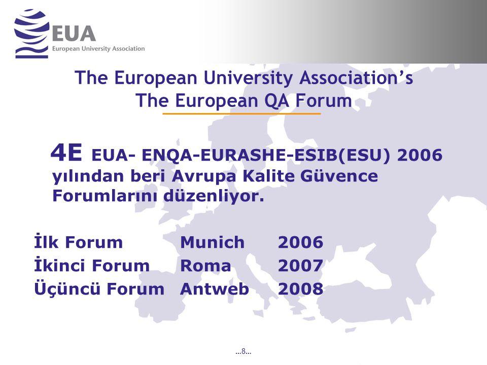 …9… The European University Association's The European QA Forum 4E EUA-ENQA-EURASHE-ESIB(ESU) 4 Mart 2008 de EQAR European Quality Agencies Register kurulmasını gerçekleştirdiler