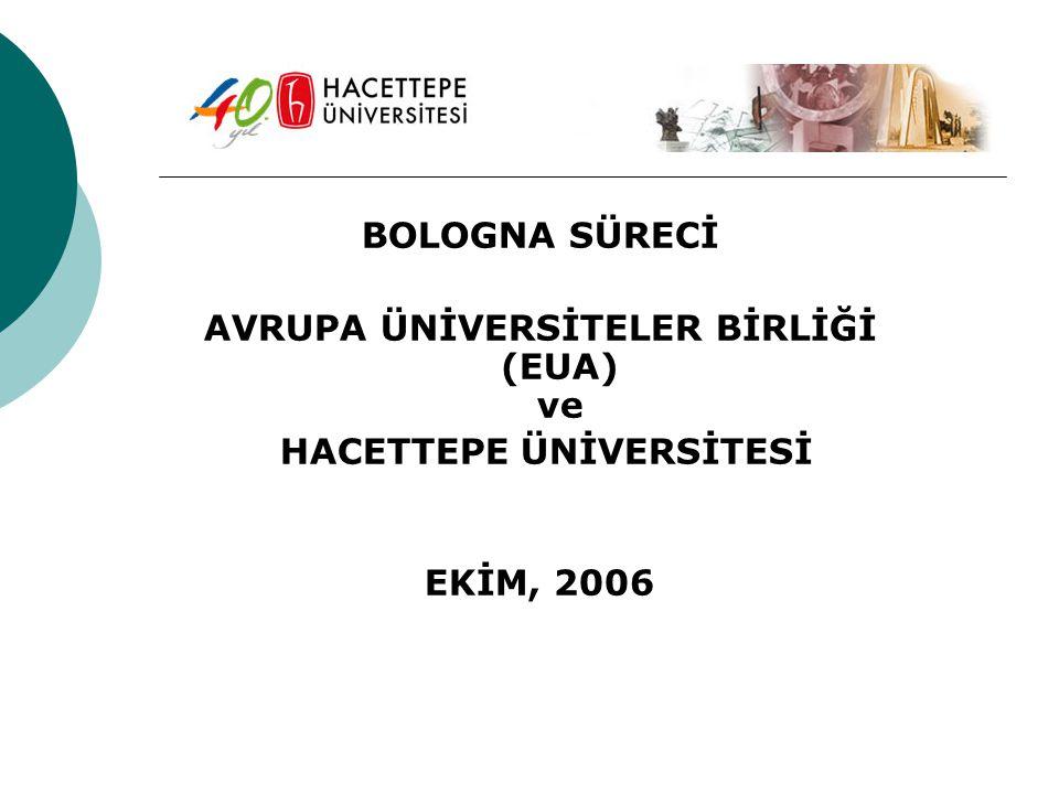BOLOGNA SÜRECİ AVRUPA ÜNİVERSİTELER BİRLİĞİ (EUA) ve HACETTEPE ÜNİVERSİTESİ EKİM, 2006