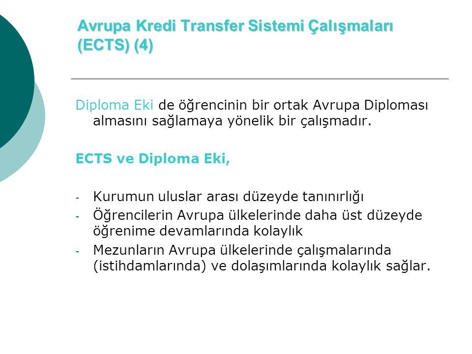 Avrupa Kredi Transfer Sistemi Çalışmaları (ECTS) (4) Diploma Eki de öğrencinin bir ortak Avrupa Diploması almasını sağlamaya yönelik bir çalışmadır.