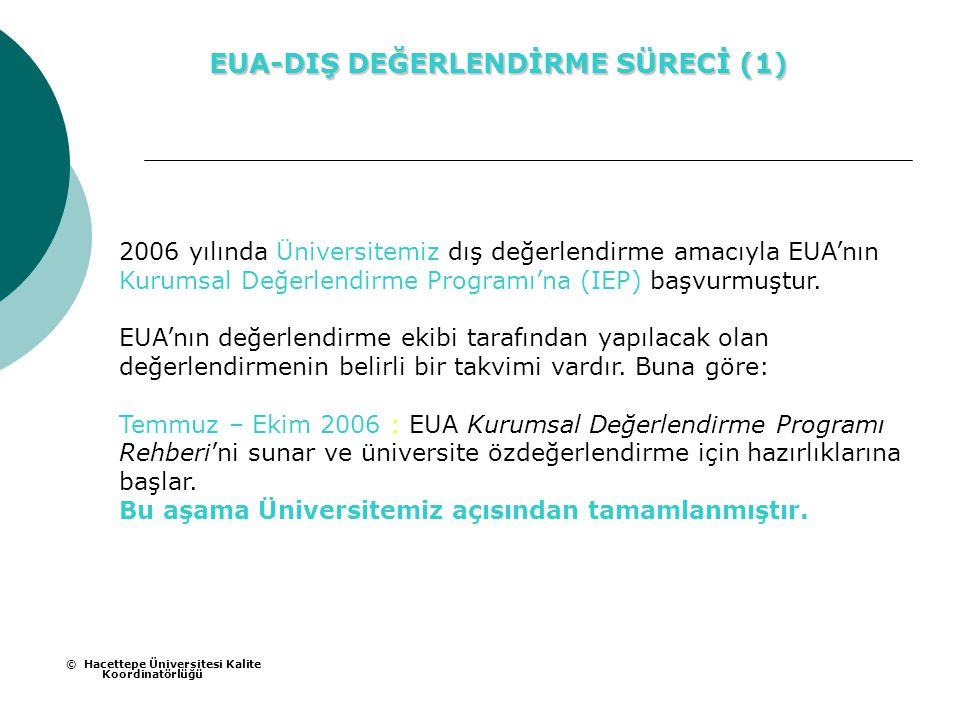 2006 yılında Üniversitemiz dış değerlendirme amacıyla EUA'nın Kurumsal Değerlendirme Programı'na (IEP) başvurmuştur.