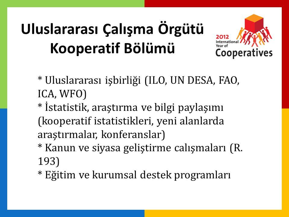 Uluslararası Çalışma Örgütü Kooperatif Bölümü * Uluslararası işbirliği (ILO, UN DESA, FAO, ICA, WFO) * İstatistik, araştırma ve bilgi paylaşımı (kooperatif istatistikleri, yeni alanlarda araştırmalar, konferanslar) * Kanun ve siyasa geliştirme calışmaları (R.