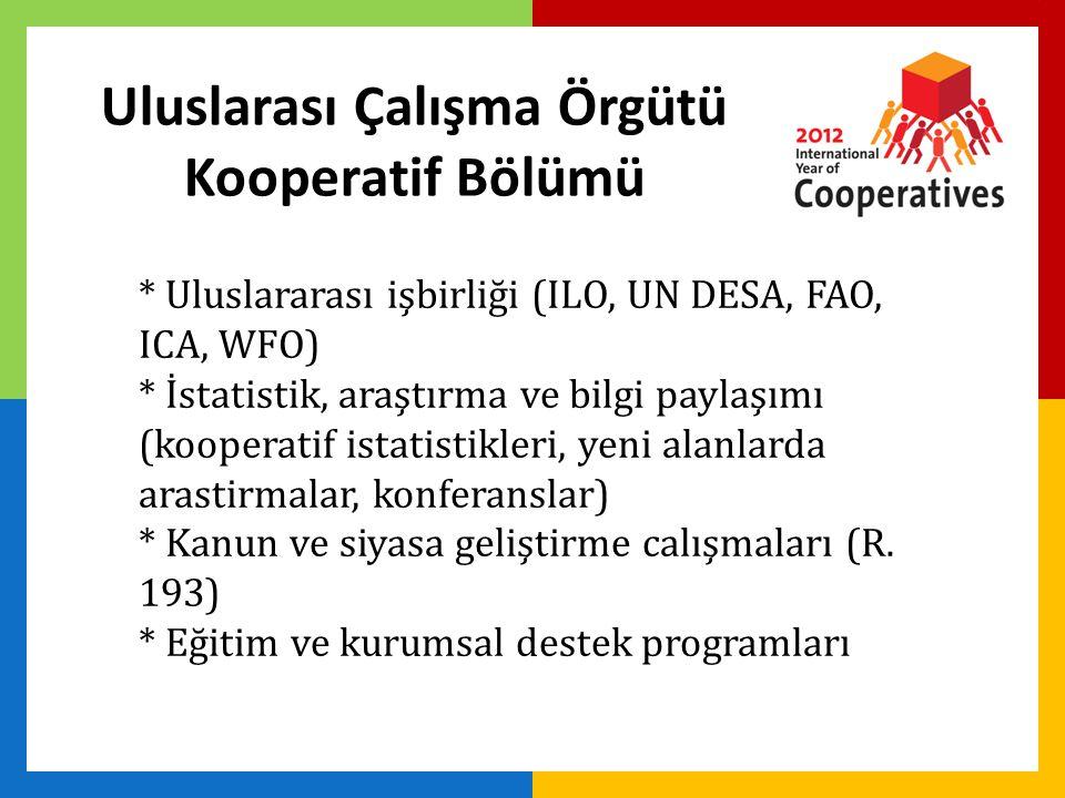 Uluslarası Çalışma Örgütü Kooperatif Bölümü * Uluslararası işbirliği (ILO, UN DESA, FAO, ICA, WFO) * İstatistik, araştırma ve bilgi paylaşımı (kooperatif istatistikleri, yeni alanlarda arastirmalar, konferanslar) * Kanun ve siyasa geliştirme calışmaları (R.