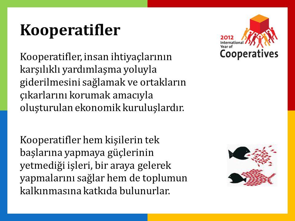 Kooperatifler, insan ihtiyaçlarının karşılıklı yardımlaşma yoluyla giderilmesini sağlamak ve ortakların çıkarlarını korumak amacıyla oluşturulan ekonomik kuruluşlardır.