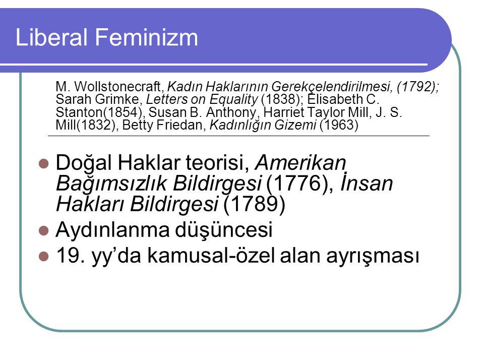 Liberal Feminizm M. Wollstonecraft, Kadın Haklarının Gerekçelendirilmesi, (1792); Sarah Grimke, Letters on Equality (1838); Elisabeth C. Stanton(1854)