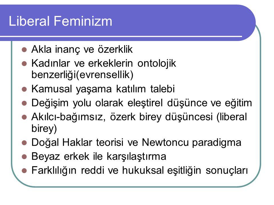 Liberal Feminizm Akla inanç ve özerklik Kadınlar ve erkeklerin ontolojik benzerliği(evrensellik) Kamusal yaşama katılım talebi Değişim yolu olarak ele