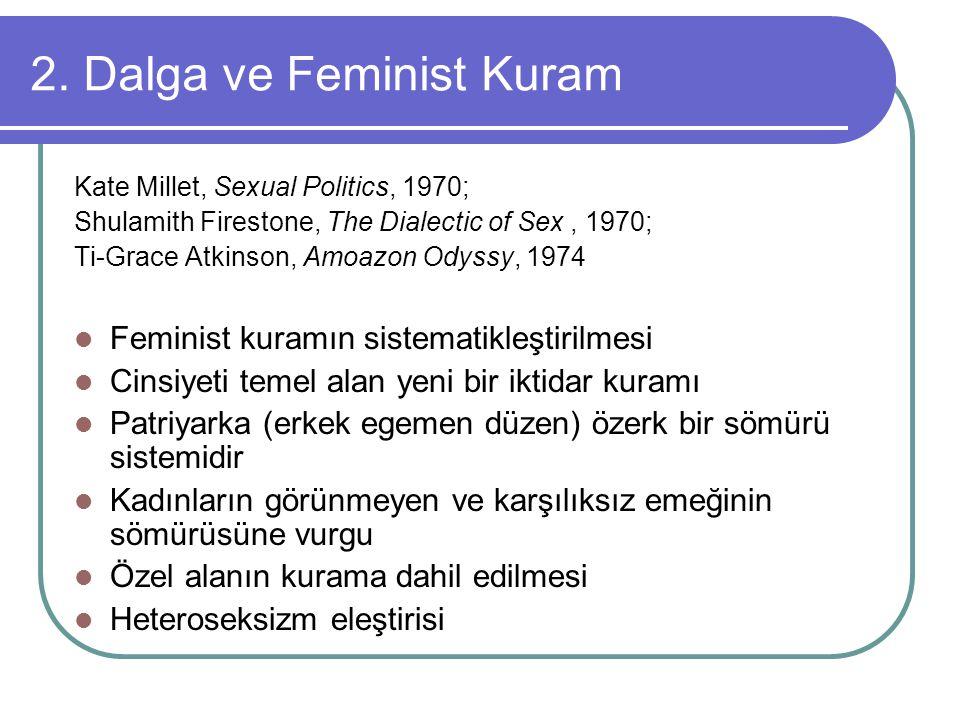 2. Dalga ve Feminist Kuram Kate Millet, Sexual Politics, 1970; Shulamith Firestone, The Dialectic of Sex, 1970; Ti-Grace Atkinson, Amoazon Odyssy, 197