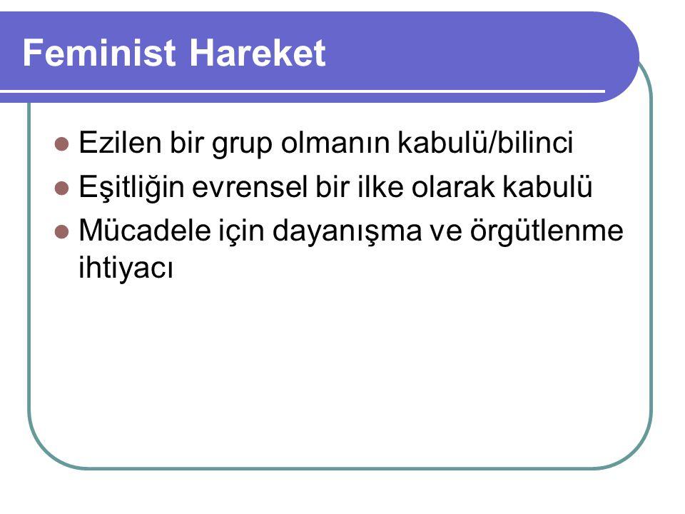Feminist Hareket Ezilen bir grup olmanın kabulü/bilinci Eşitliğin evrensel bir ilke olarak kabulü Mücadele için dayanışma ve örgütlenme ihtiyacı
