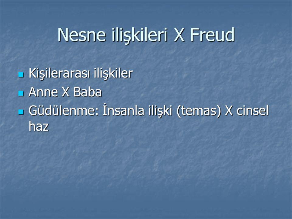 Nesne ilişkileri X Freud Kişilerarası ilişkiler Kişilerarası ilişkiler Anne X Baba Anne X Baba Güdülenme: İnsanla ilişki (temas) X cinsel haz Güdülenme: İnsanla ilişki (temas) X cinsel haz