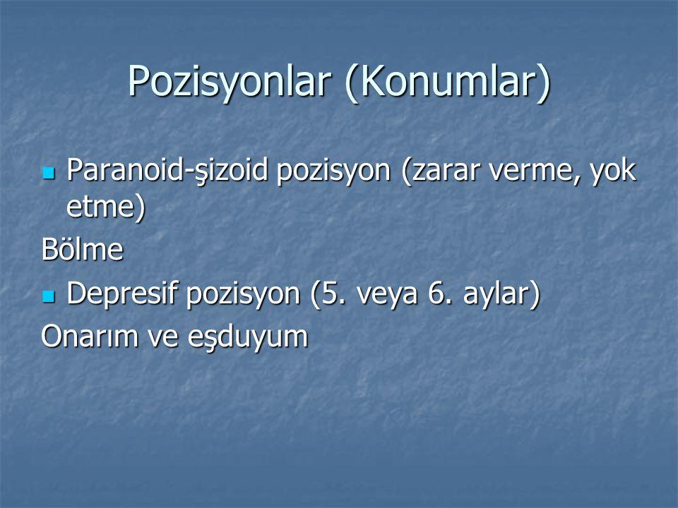 Pozisyonlar (Konumlar) Paranoid-şizoid pozisyon (zarar verme, yok etme) Paranoid-şizoid pozisyon (zarar verme, yok etme)Bölme Depresif pozisyon (5.
