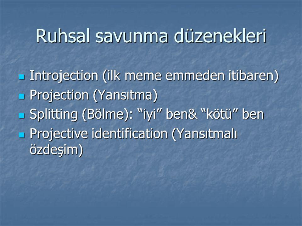 Ruhsal savunma düzenekleri Introjection (ilk meme emmeden itibaren) Introjection (ilk meme emmeden itibaren) Projection (Yansıtma) Projection (Yansıtma) Splitting (Bölme): iyi ben& kötü ben Splitting (Bölme): iyi ben& kötü ben Projective identification (Yansıtmalı özdeşim) Projective identification (Yansıtmalı özdeşim)