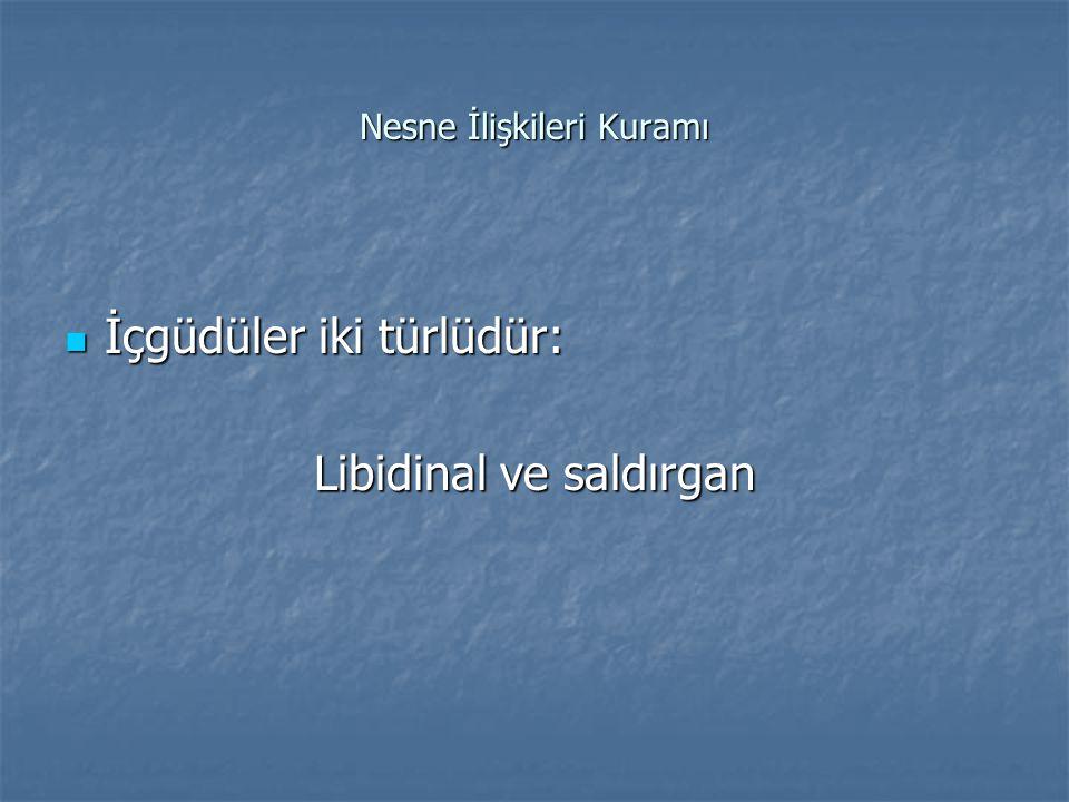 Nesne İlişkileri Kuramı İçgüdüler iki türlüdür: İçgüdüler iki türlüdür: Libidinal ve saldırgan