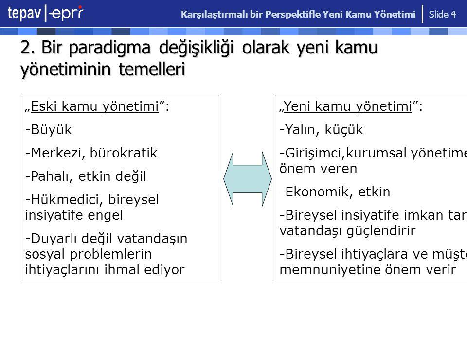 Karşılaştırmalı bir Perspektifle Yeni Kamu Yönetimi Slide 4 2.
