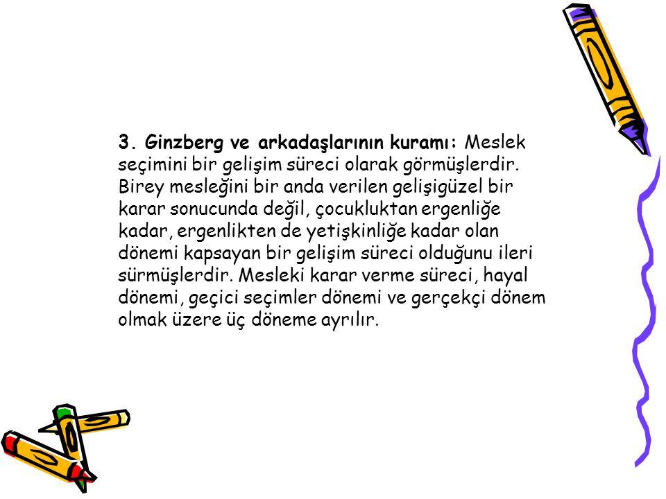 3.Ginzberg ve arkadaşlarının kuramı: Meslek seçimini bir gelişim süreci olarak görmüşlerdir.