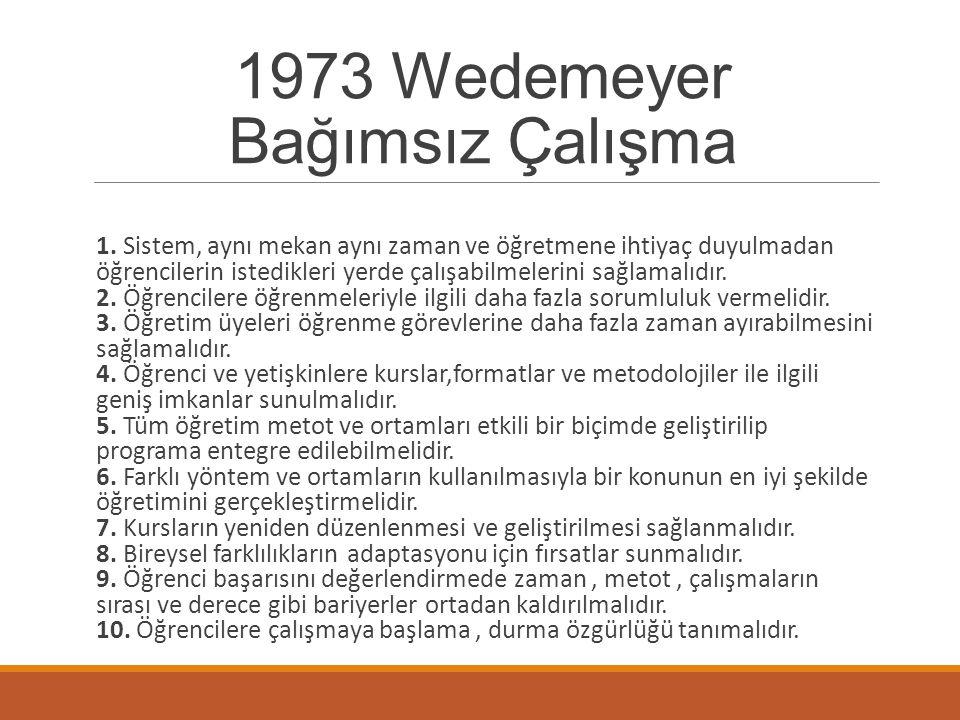 1973 Wedemeyer Bağımsız Çalışma Wedemeyer, öğrenme-öğretme duyumları için 4 eleman belirtmiştir: *Öğretmen *Öğreten veya öğrenenler *İletişim sistemi veya tipi *Öğretecek ya da öğrenilecek bir şey.