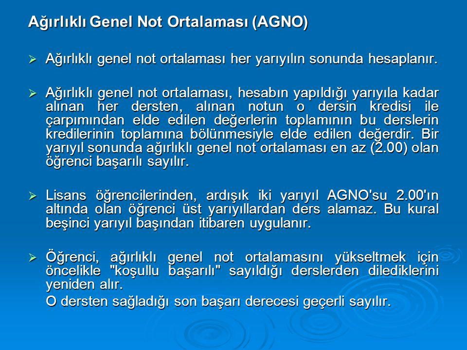 Ağırlıklı Genel Not Ortalaması (AGNO)  Ağırlıklı genel not ortalaması her yarıyılın sonunda hesaplanır.  Ağırlıklı genel not ortalaması, hesabın yap