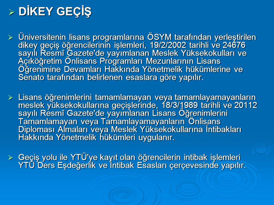  DİKEY GEÇİŞ  Üniversitenin lisans programlarına ÖSYM tarafından yerleştirilen dikey geçiş öğrencilerinin işlemleri, 19/2/2002 tarihli ve 24676 sayı