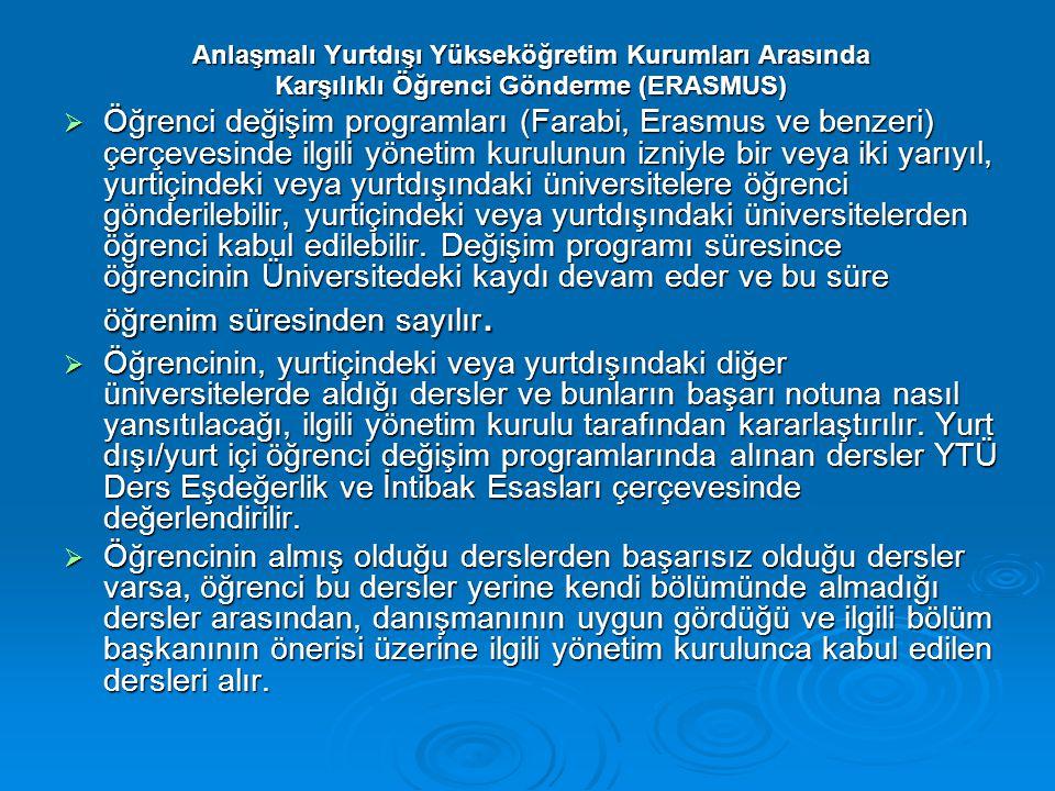 Anlaşmalı Yurtdışı Yükseköğretim Kurumları Arasında Karşılıklı Öğrenci Gönderme (ERASMUS)  Öğrenci değişim programları (Farabi, Erasmus ve benzeri) ç