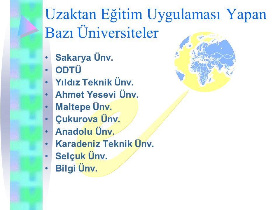 Uzaktan Eğitim Uygulaması Yapan Bazı Üniversiteler Sakarya Ünv.