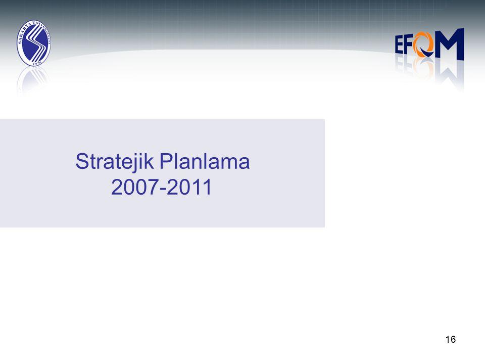 16 Stratejik Planlama 2007-2011