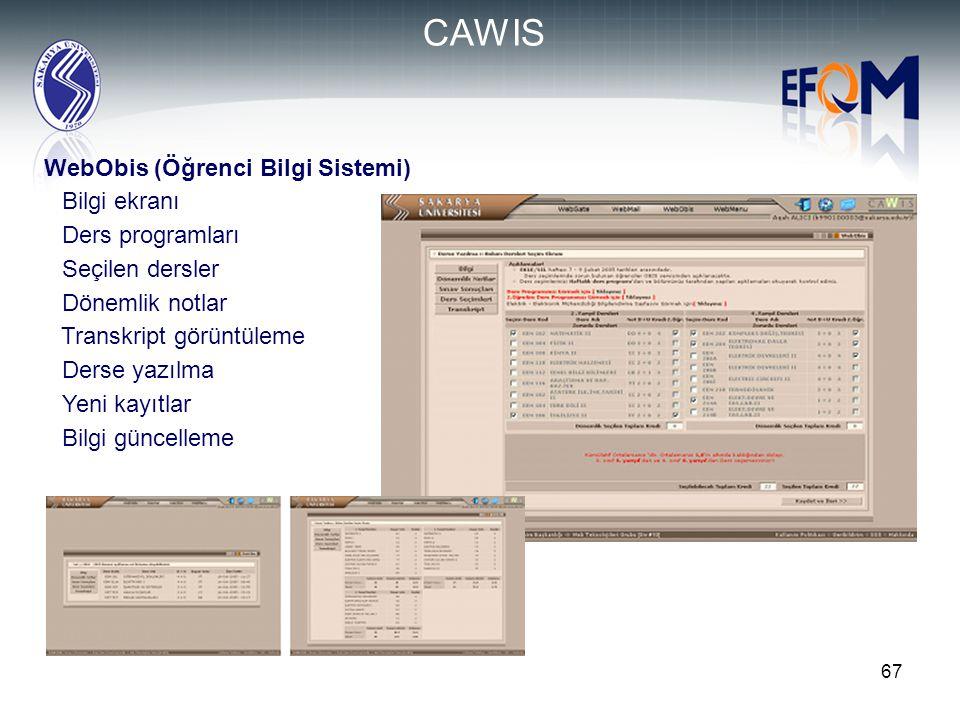 67 WebObis (Öğrenci Bilgi Sistemi)  Bilgi ekranı  Ders programları  Seçilen dersler  Dönemlik notlar  Transkript görüntüleme  Derse yazılma  Ye