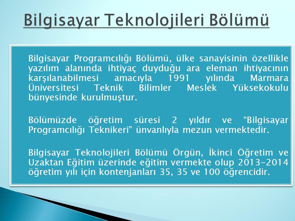  Bilgisayar Programcılığı Bölümü, ülke sanayisinin özellikle yazılım alanında ihtiyaç duyduğu ara eleman ihtiyacının karşılanabilmesi amacıyla 1991 y