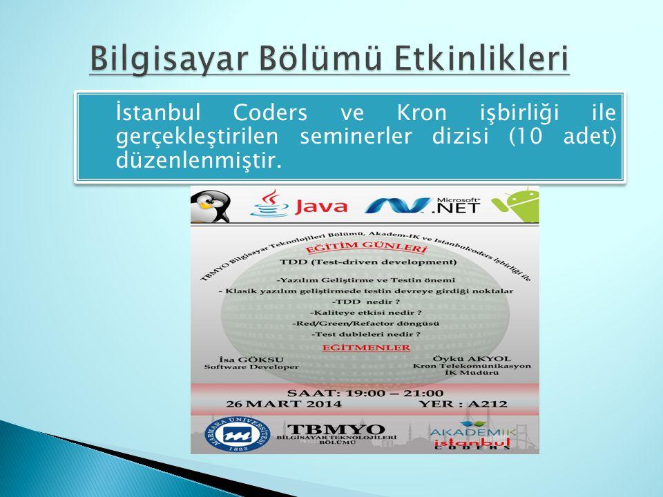  İstanbul Coders ve Kron işbirliği ile gerçekleştirilen seminerler dizisi (10 adet) düzenlenmiştir.