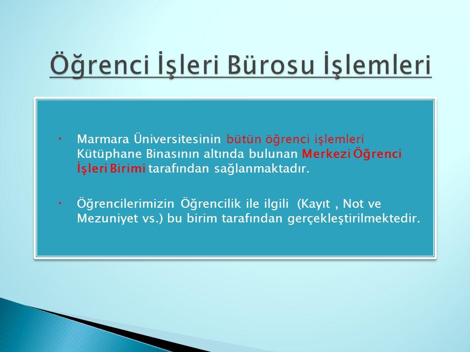  Marmara Üniversitesinin bütün öğrenci işlemleri Kütüphane Binasının altında bulunan Merkezi Öğrenci İşleri Birimi tarafından sağlanmaktadır.  Öğren