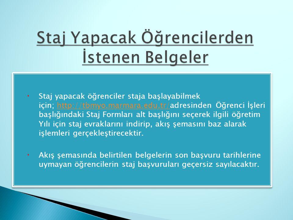 Staj yapacak öğrenciler staja başlayabilmek için; http://tbmyo.marmara.edu.tr/adresinden Öğrenci İşleri başlığındaki Staj Formları alt başlığını seç
