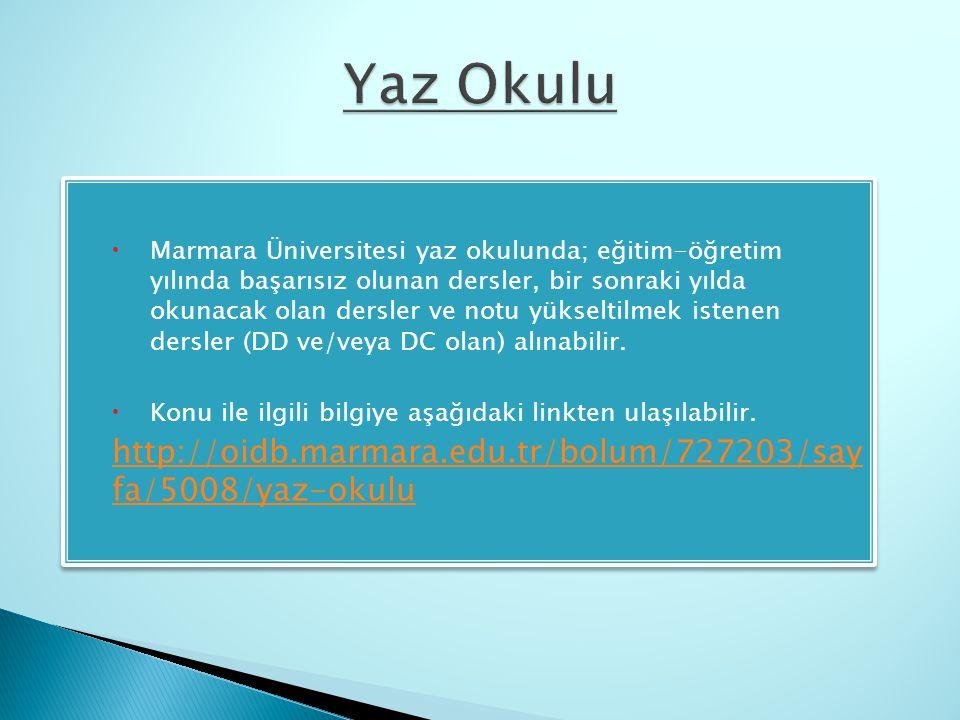  Marmara Üniversitesi yaz okulunda; eğitim-öğretim yılında başarısız olunan dersler, bir sonraki yılda okunacak olan dersler ve notu yükseltilmek ist