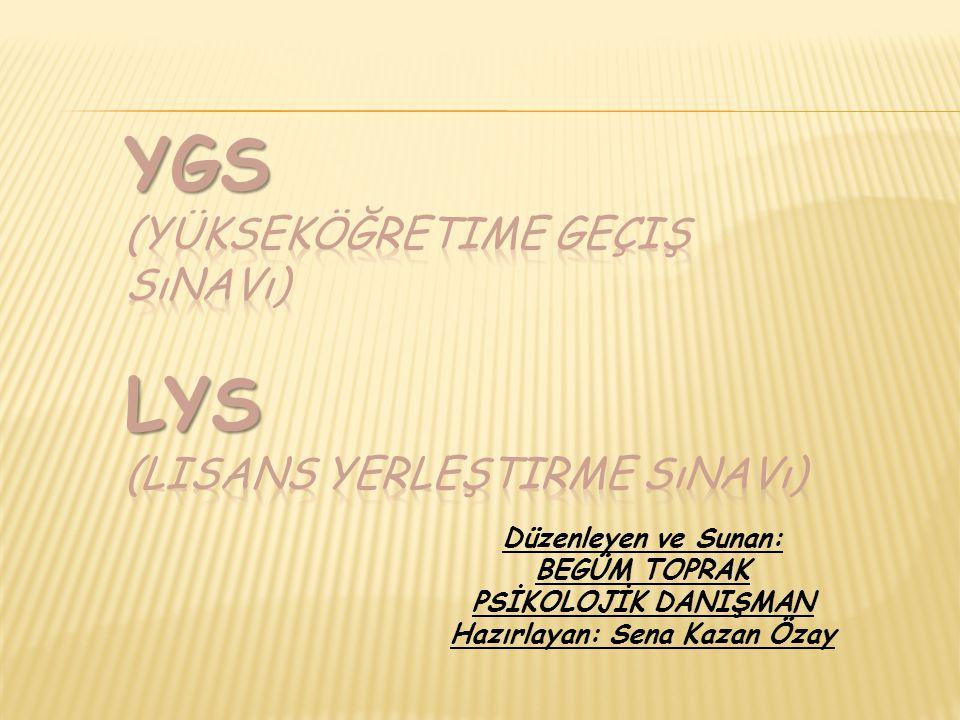 LYS (LISANS YERLEŞTIRME SıNAVı)  YGS'den barajı geçebilen adaylar, hedefledikleri puan türüne göre istedikleri LYS'lere katılabilecekler.