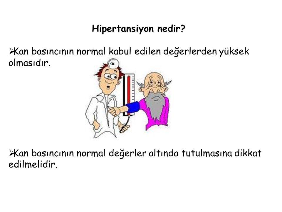 Hipertansiyon nedir?  Kan basıncının normal kabul edilen değerlerden yüksek olmasıdır.  Kan basıncının normal değerler altında tutulmasına dikkat ed